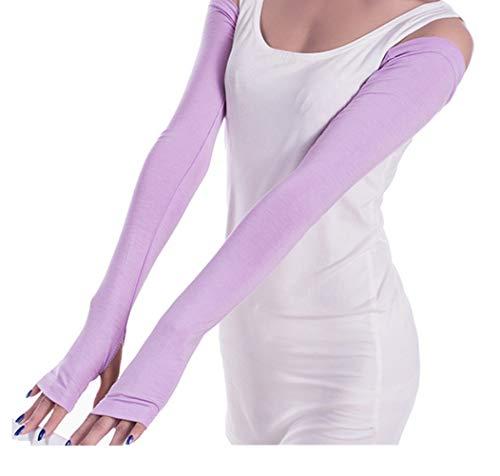 Women Stretchy Long Sleeve Fingerless Gloves (LightPurple)