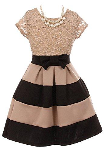 iGirlDress Lace Bow Stripe Necklace Little Girl Flower Girls Dresses Black 14