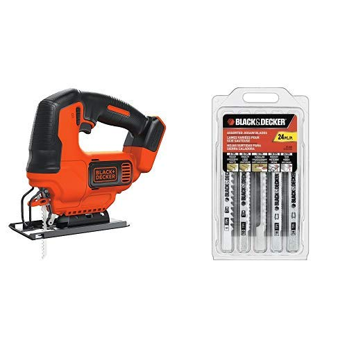 BLACK+DECKER BDCJS20B Lithium Jigsaw Bare Tool 20V with BLACK+DECKER 75-626 Assorted Jigsaw Blades Set Wood and Metal 24-Pack