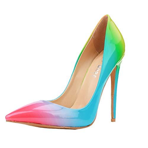 Themost Fashion Womens Rainbow Print Pointy Closed Toe Slip on Pencil High Heel Shoes ()