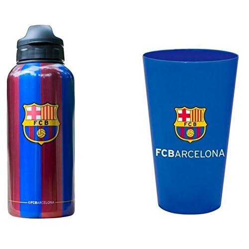 Barça Gourde bouteille sport 350 ml Fc Barcelone Messi Suarez plus verre