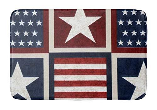 (Yesstd American Patriotic Stars and Stripes Absorbent Super Cozy Bathroom Rug Doormat Welcome Mat Indoor/Outdoor Bath Floor Rug Decor Art Print with Non Slip Backing 24