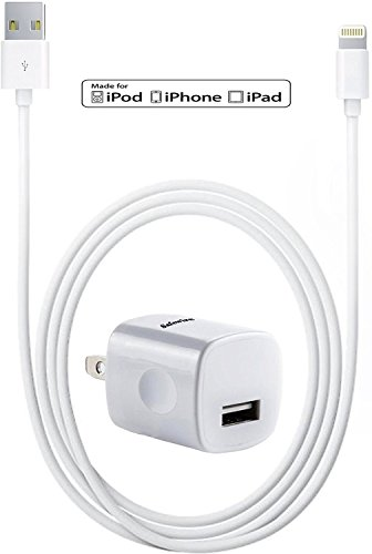 [Apple MFi Certified] Safewire 5W 1A High Speed Universal Power Adapter Wall Charger with Sync and Data 8pin Lightning to USB Cable 3ft for iPhone, iPod, iPad (White)