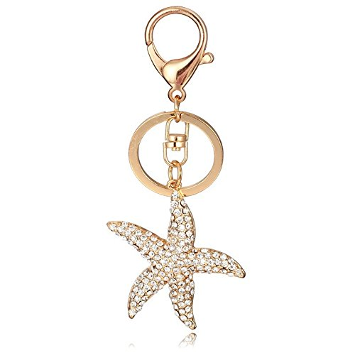 Clear Starfish Sparkling Charm Blingbling Keychain Crystal Rhinestone Pendant (Silver)