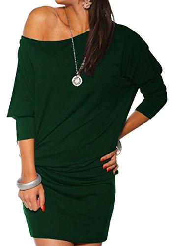 Cruiize Des Femmes De Taille Plus T-shirt D'une Robe À Manches Longues Vert Épaule