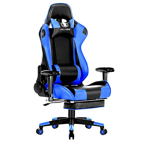 KILLABEE Big and Tall 350lb Massage Memory Foam Gaming Chair – Adjustable Massage Lumbar Cushion, Retractable Footrest and 2D Arms High Back Ergonomic Racing Computer Desk Leather Office Chair, Blue