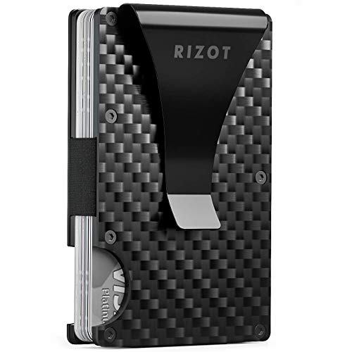 Carbon Fiber Wallet - Minimalist RFID Blocking Slim Wallet -Front Pocket Wallets for Men - Metal Wallet  - Carbon Fiber Money Clip  - Men Card Wallet