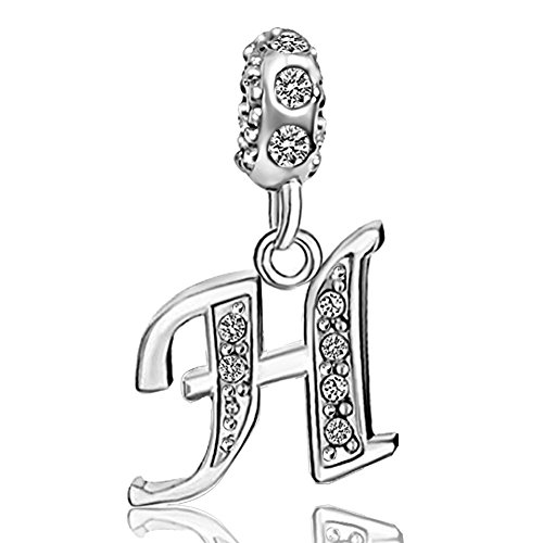 JMQJewelry Alphabet Letter H Initial Spacer Dangle Clear Crystal Birthstone Charms for Necklace Bracelets