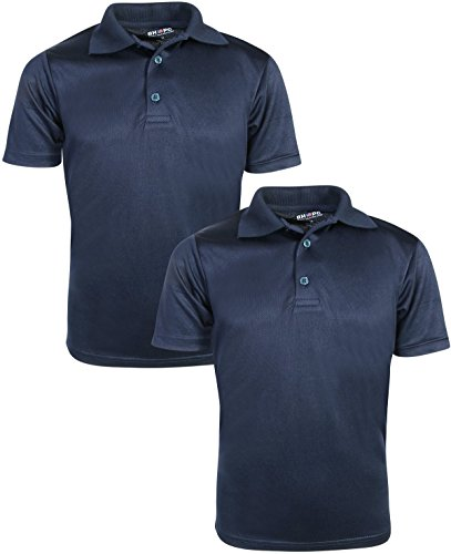 Beverly Hills Polo Club Boys Short Sleeve Dry-Fit Performance School Uniform Polo (2 Pack), Navy, 4'