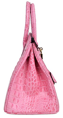 Cherish Kiss Women's Luxury Embossed Crocodile Leather Tote Office Padlock Handbags (30CM, Pink) by Cherish Kiss (Image #3)