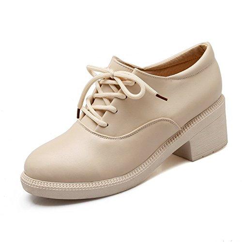 VogueZone009 Damen Rund Zehe Mittler Absatz Weiches Material Rein Ziehen auf Pumps Schuhe, Weiß, 37