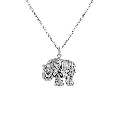 LeCalla Sterling Silver Jewelry Antique Beautifully Carved Elephant Charm Pendant with Chain for ()