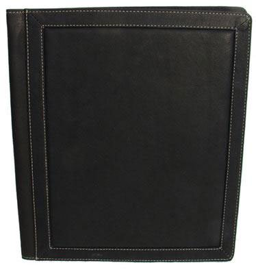 Piel Leather Three-Ring Binder Bl, Black