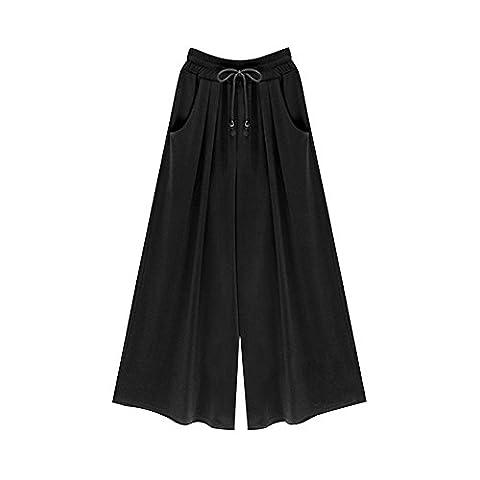 Gooket Women's Casual Loose Wide Leg Pants Elastic Waist Drawstring with Pockets Black 7-6XL