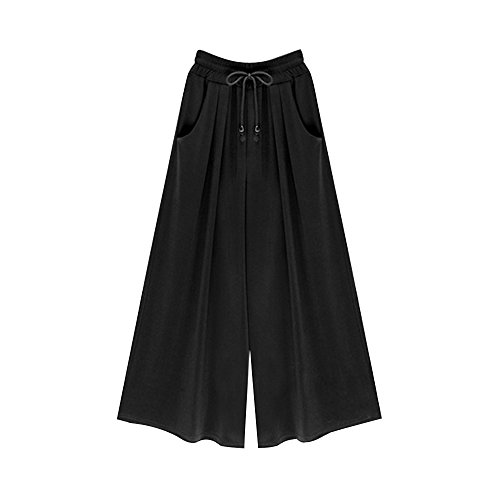 Gooket Women's Casual Wide Leg Pants Loose Fit Culottes Trousers with Drawstring Black 9-XXL