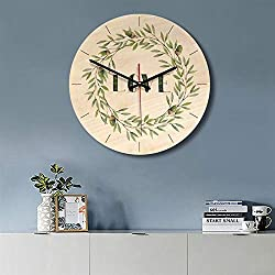 Wall Clocks - Cartoon Modern Design Wooden Wall Clock Round Vintage Office Decor - Oval Size Quartz Neon Purple Industrial Analog Rectangular Plug African Heart Deco Rectangle Jungle Yellow