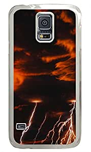 Samsung Note S5 CaseLightning In Orange Clouds PC Custom Samsung Note S5 Case Cover Transparent