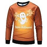 kaifongfu Men Scary Halloween Tops with Pumpkin 20D Print Long Sleeve Party Hoodie Blouse(Orange B,L)