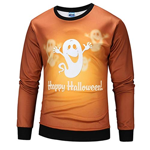 kaifongfu Men Scary Halloween Tops with Pumpkin 22D Print Long Sleeve Party Hoodie Blouse(Orange B,S) -