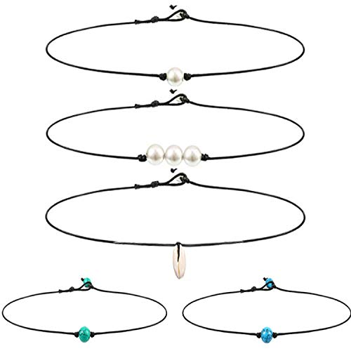 - Single Shell Choker Necklace Single Pearl Choker Necklace 3 Bead Necklace Single Gemstone/Turquoise Choker and Blue Turquoise Necklace on Leather Cord for Women Girl,5 Pieces (style 1)
