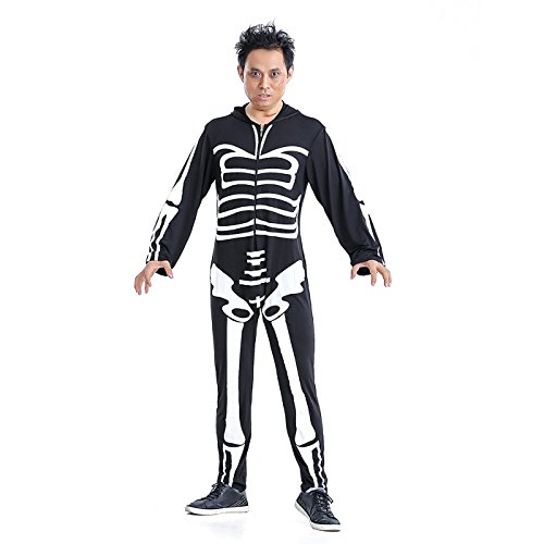 Skeleton Zombie Adult Mens Costumes (HDE Men's Skeleton Halloween Costume Spooky Adult Sized Graphic Print Outfit)