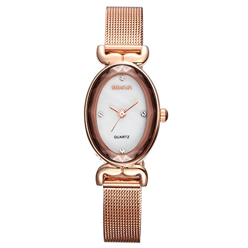 Women Girls Luxury Dress Watch Unique Oval Shape Analog Quartz WeiQin Alloy Bracelet Wrist Watch Rose - Face Girl Oval