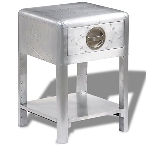 Festnight End Side Table Aluminum Bedside Nightstand with Storage Drawers and Shelf Aviator Aircraft Airman Style Living Room Home Office Furniture Silver 15.7