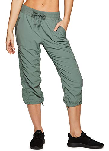 RBX Active Women's Lightweight Body Skimming Drawstring Capri Pant S19 Green -