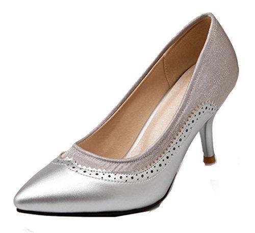 YE Damen 7cm Absatz Kitten Heel Leder High Heels Spitze Zehen Geschlossen Stiletto Brogues Pumps Work Office Schuhe Silber