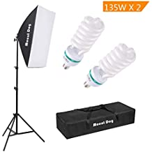 "1350W Photography Continuous Softbox Lighting Kit by MOUNTDOG 20""X28"" Professional Photo Studio Equipment with 2pcs E27 Socket 5500K Video Lighting Bulb for Filming Portraits Shoot"