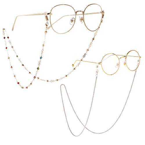 Eyeglass Chains for Women 2pcs Sunglasses Reading Glasses Strap Holder Cords Fashion Lanyards Eyewear Retainer (Colorful Beads+Sliver, One Size)