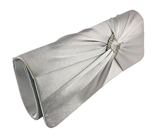 - AITING Womens Satin Diamante Pleated Evening Clutch Bag Bridal Handbag Prom Purse (Silver)
