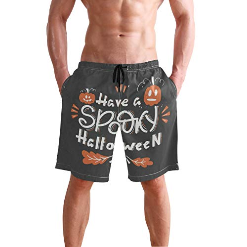 Men's Shorts Have Spooky Halloween Pumpkins Oak Leaves Swim Trunks Quick-Drying