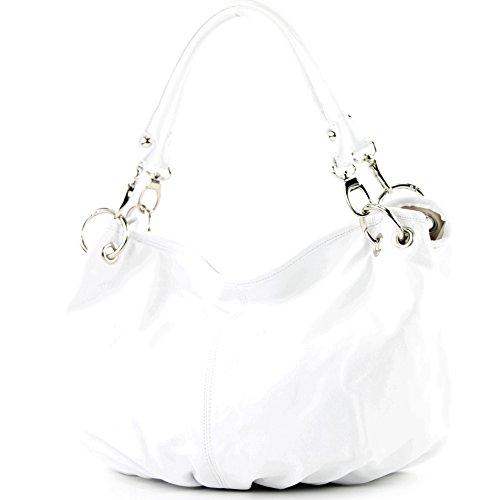 modamoda de - ital. Ledertasche Damenhandtasche Damentasche Schultertasche Nappaleder IT40 Weiß auNS7trx