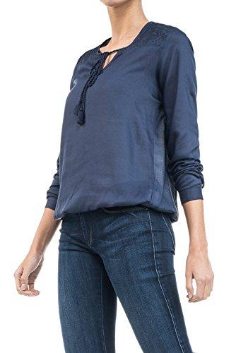 SALSA Blusa bordada con cordones Azul