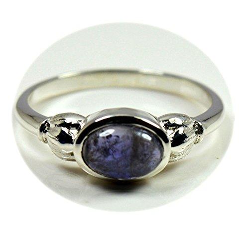 (55Carat Natural Blue Iolite Silver Ring Chakra Healing Handmade Cabochon Jewelry Size 5,6,7,8,9,10,11,12)