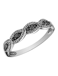 Infinity Black Diamond Ring in 10K White Gold