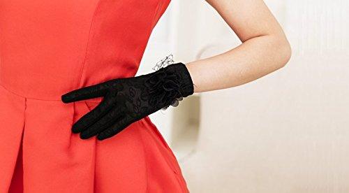 formanism フェミニン フォーマル 日焼け止め 大きめポイント フラワー サマー手袋 レディース (D)