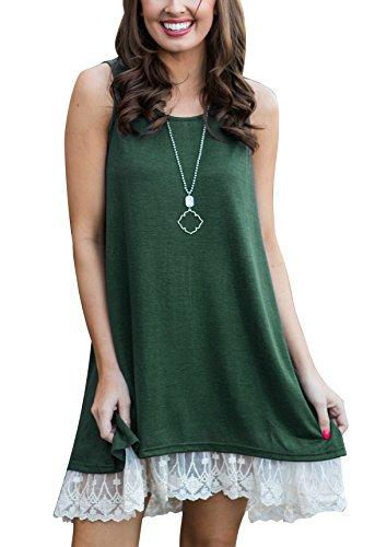 Women's Lace Tunic Top Sleeveless Blouse Sweatshirt A-Line Flowy Summer T-Shirt Dress Green XL ()