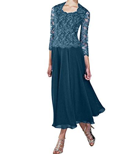 Marie Braut Royal Abendkleider Blau Blau Tinte Spitze Langarm Partykleider mit Brautmutterkleider La Wadenlang 6dfqw6