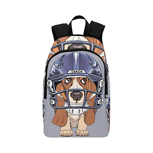 Puppy Basset Hound Blue Handegg Helmet Casual Daypack Travel Bag College School Backpack for Mens and -