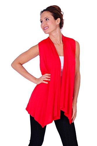 SR Womens Assymetrical Hem Sleeveless Open Cardigan(Size: Small-5X)