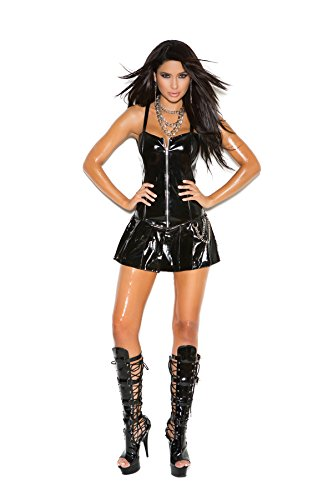 Hot Spot Sexy Vinyl Corset Zip Front Clubwear Mini Dress with Pleated Skirt and Chains (L, Black) ()