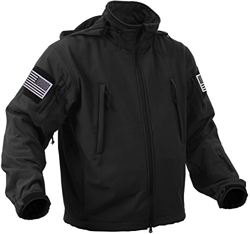 Rothco Special Ops Tactical Soft Shell Jacket with Patches Bundle (Medium, Black with Silver Patches)