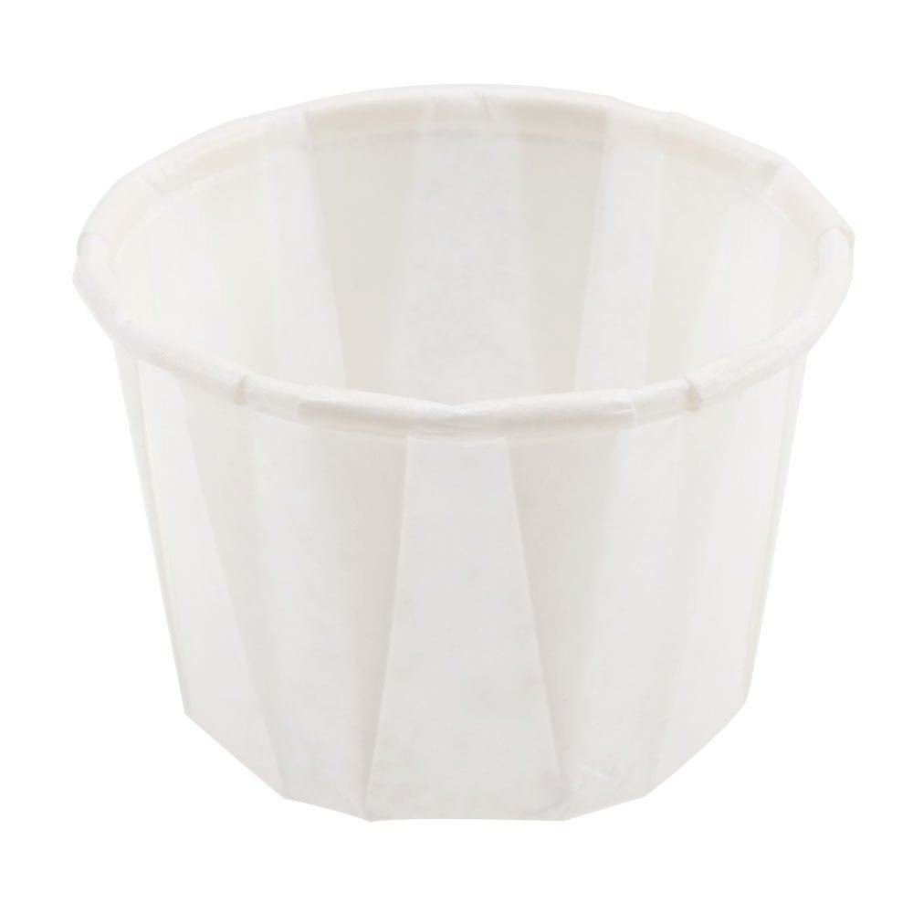 SOLO Cup Company White Jello Shot Paper Souffle Portion Cups Treated Paper Pleated Soufflé Portion Cup, 1 oz, 250 piece Dart 100-2050