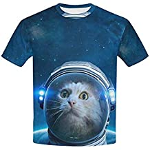 Yeahope Rock Funny Cartoon Galaxy Space Cat Pattern Crew Neck Short-Sleeved Unisex Kids T-Shirts Tops Novelty Graphic Children Teen Boys Girls Clothes