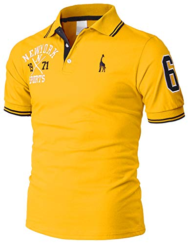 H2H Mens Casual Slim Fit Polo T-Shirts Basic Designed with Giraffe Embroidery Yellow US 2XL/Asia 5XL (KMTTS599) ()