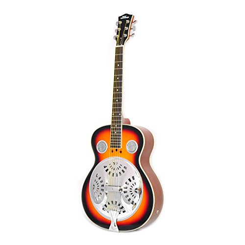 "Pyle Resophonic Acoustic Electric Guitar – 39.5"" 6 String Sunburst Mahogany Traditional Resonator w/ Built-in Pre Amplifier, Case Bag, Strap, Steel Strings, Tuner, Picks, Great for Beginner – PGA48BR"