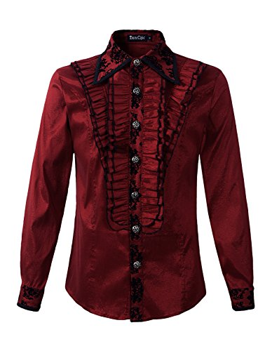 Mens Gothic Shirt Top Vampire Steampunk VTG Regency Aristocrat (XL, Burgundy)