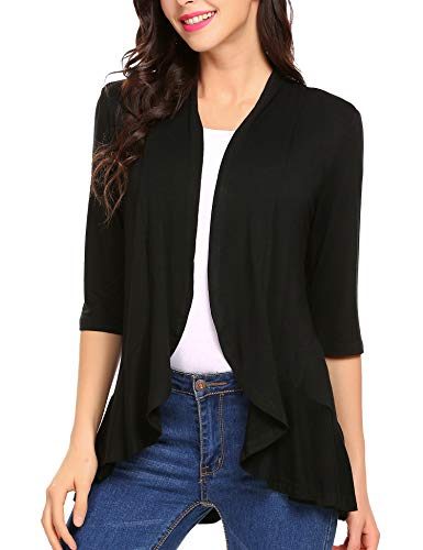 Mofavor Women's Irregular Hem Lightweight Soft Draped Front Open Cardigan Sweater Black XL